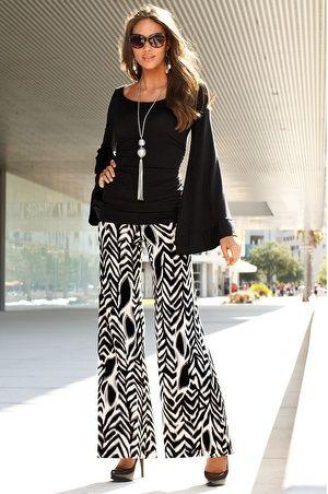 Pantalón palazo con diseño geométricos con blusa en color entero ...