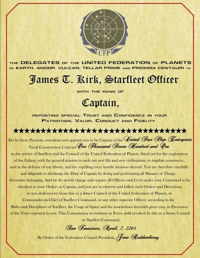 Appointment Letter of James TKirk to Captain Star Trek - appointment letter