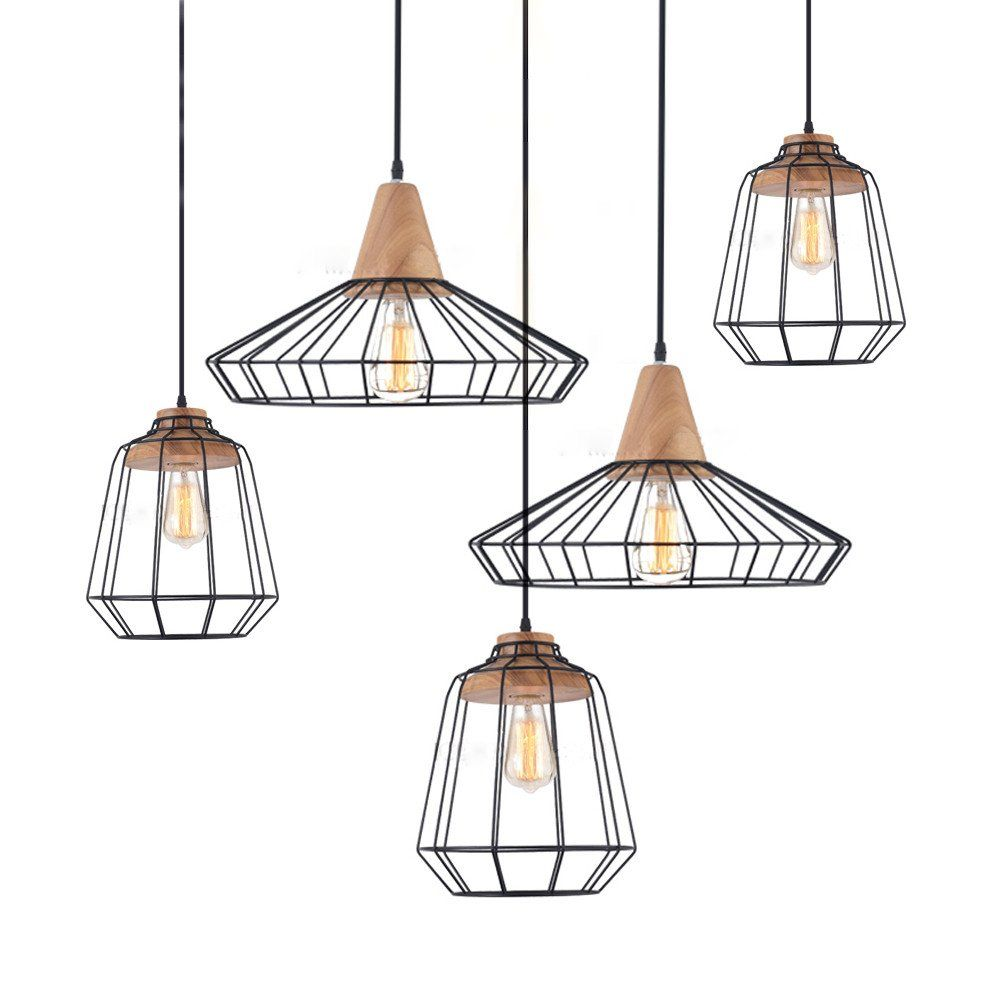 Sangkar Metal Cage Pendant Light With Wood Base Scandinavian Styling Ceiling Light Cage Pendant Light Pendant Light Scandinavian Lamps