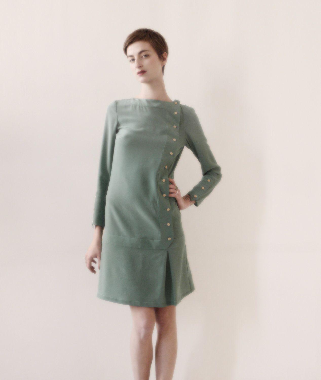 S inspired mint green dress silk dress covered silk beige