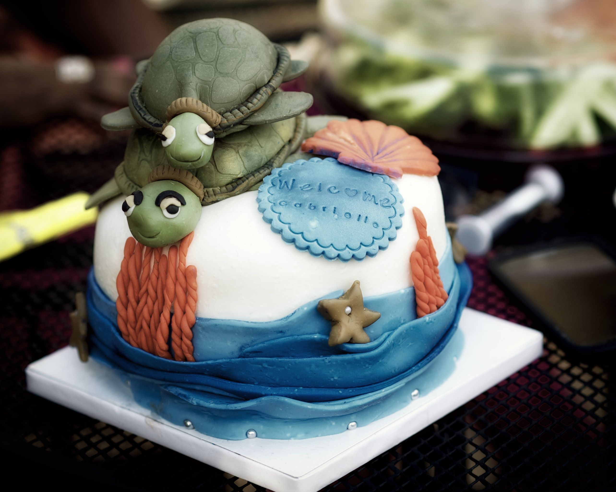 Coconut baby sea turtle baby shower cake turtle baby