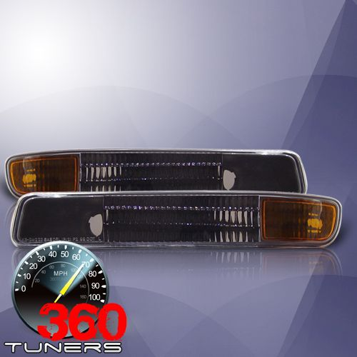 GMC Yukon, Sierra Parking Lights with Amber Reflectors - Pair (Black)