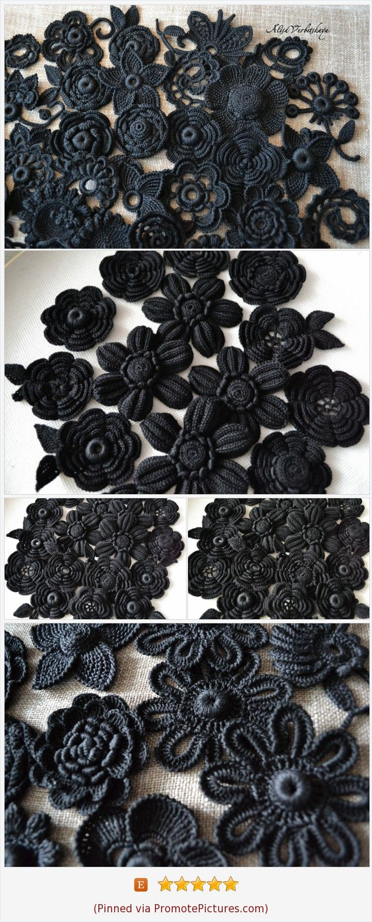 Items similar to Black Rose Crochet flower 10pcs Set flower Black wedding Gothic style flower Goth Witch accessories Dark Victorian Diy kit Irish crochet on Etsy