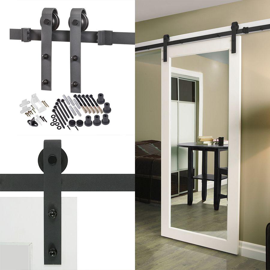 Shop 78.75-in Matte Black Steel Interior Barn Door Roller ...