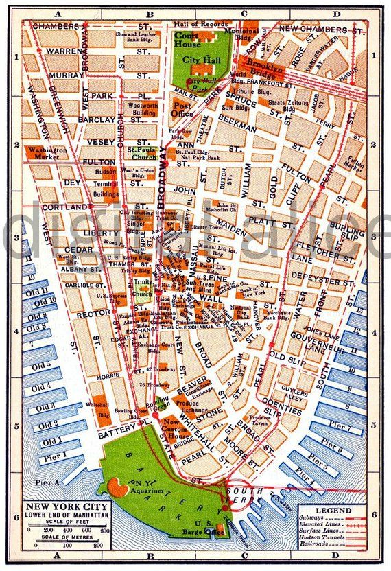 Vintage BROOKLYN MAP - Old Map 1891 Brooklyn NY - Colorful Antique ...