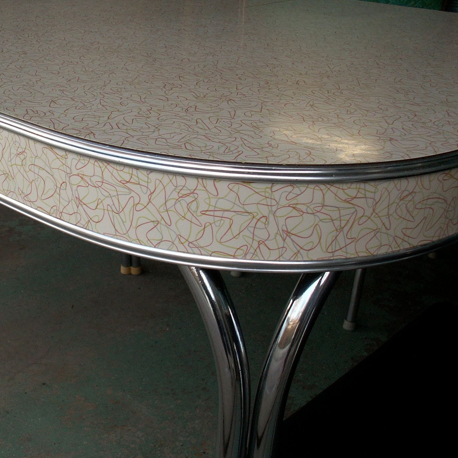 Vintage Formica And Chrome Table with Boomerang Pattern (LOVE this ...