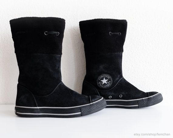 6018d894261eeb Converse winter boots in black suede leather with soft by Femchan ...