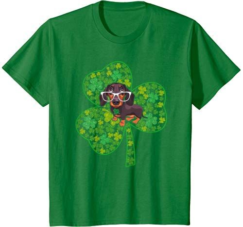 Dog Lovers Shamrock Heart St. Patrick's Day Funny Dachshund T Shirt