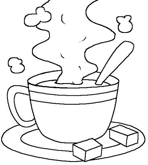 Cup Of Hot Chocolate Milk Coloring Page | Tea Pots coloring pages ...