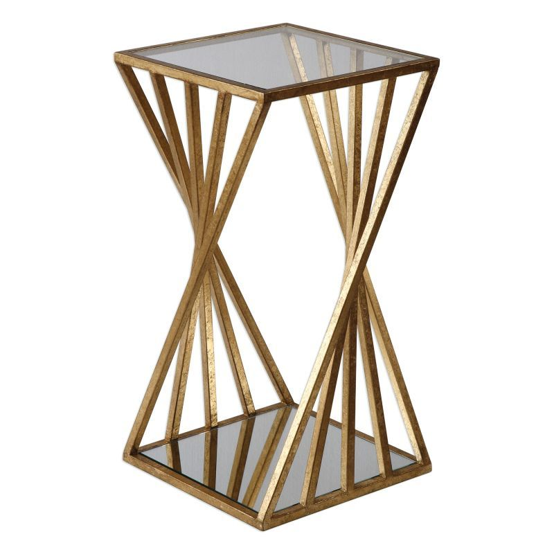 Uttermost 24723 Janina 13 Inch Wide Iron End Table Gold Leaf Indoor Furniture Tables Accent