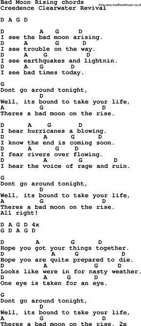 Song Lyrics With Guitar Chords For Bad Moon Rising Easy Guitar