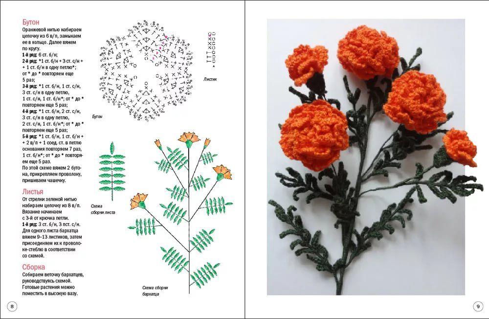 вязаные цветы крючком схемы с описанием фото расскажу