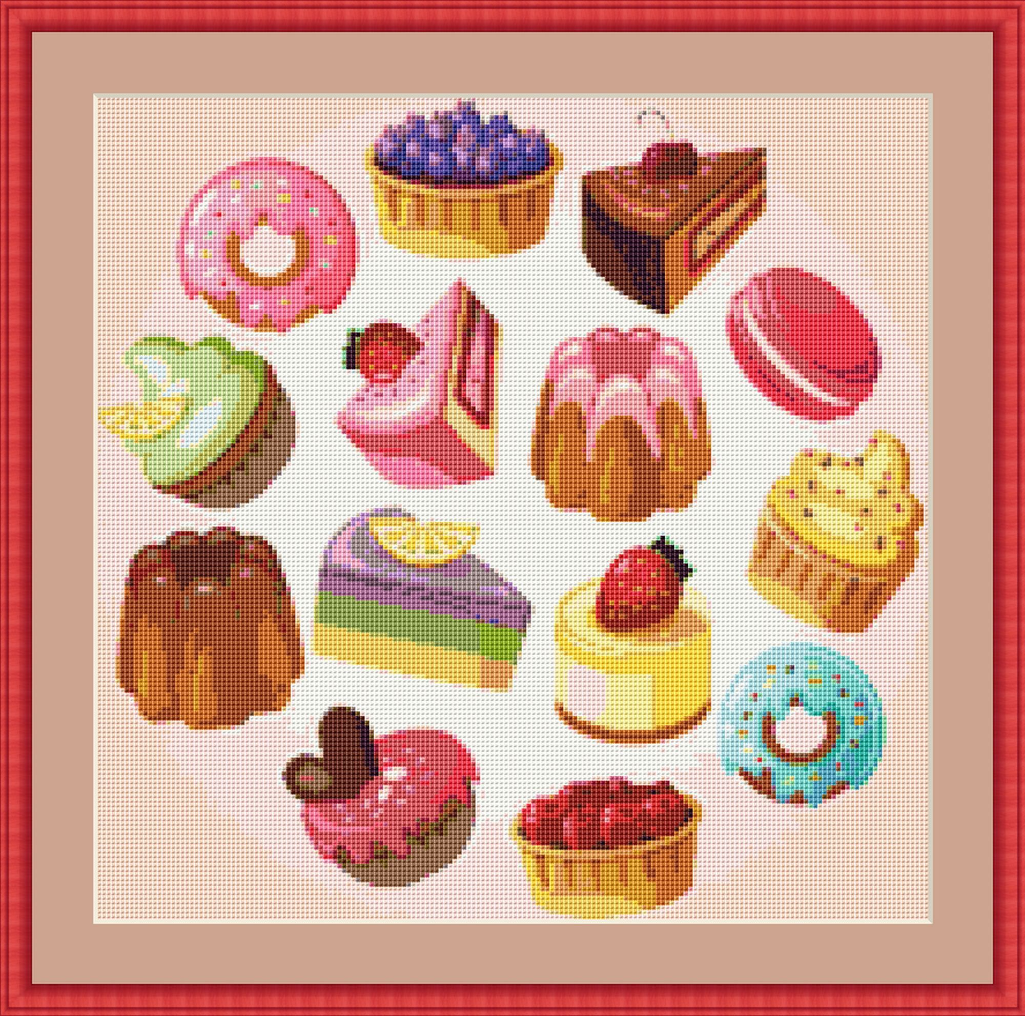Color Symbols Charts DIY Christmas Baking Counted Cross Stitch Patterns