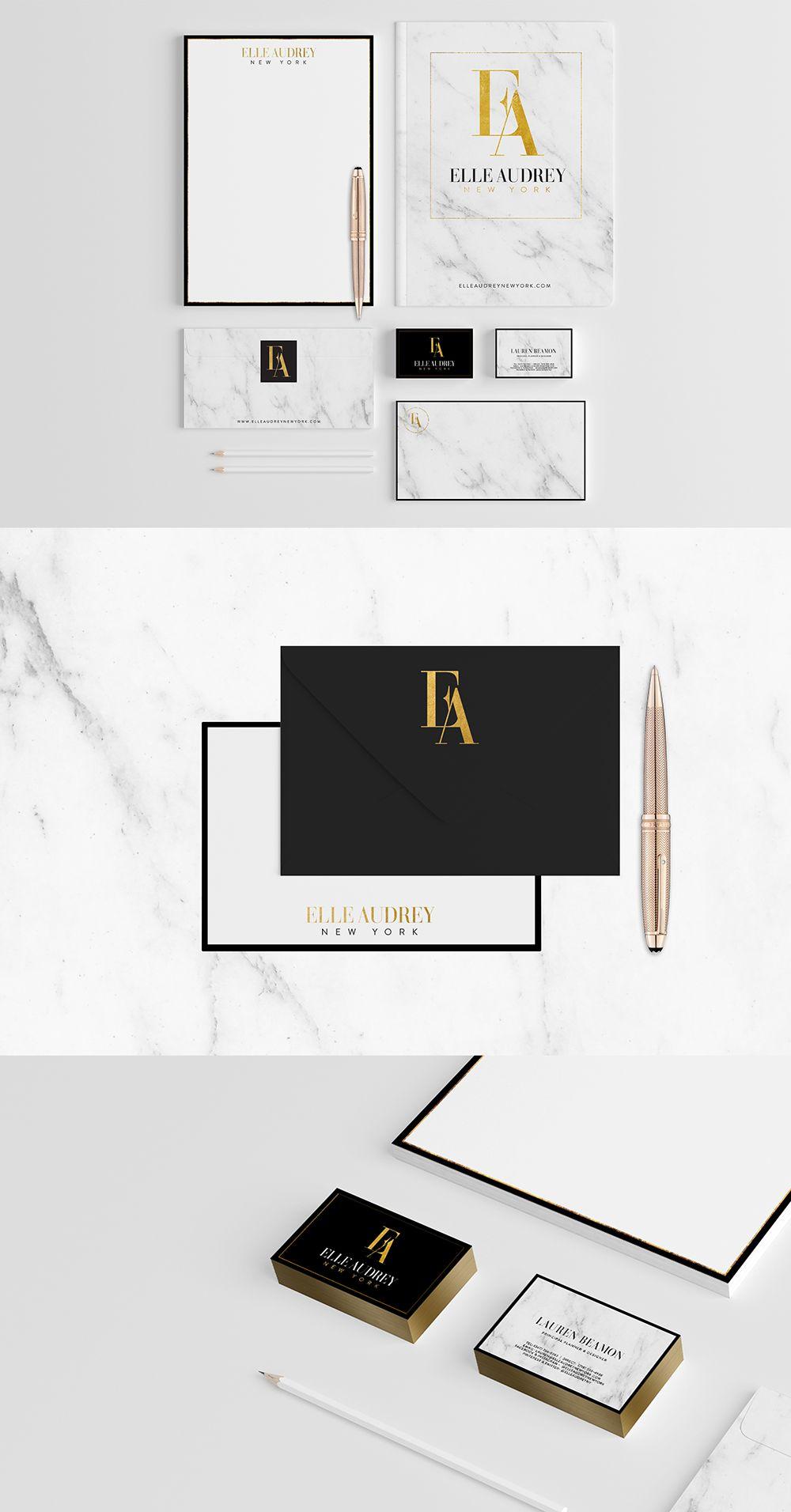56c2c3d625034 Business branding, luxury brand design, gold foil and marble, brand  stationery design for Elle Audrey New York
