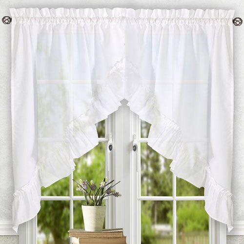 Stacey White 60 X 38 Inch Ruffled Swag Curtain Swag Curtains Curtains Valance Curtains