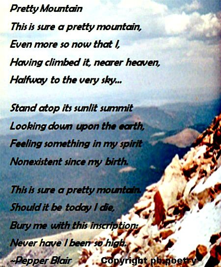 Pretty Mountain Imagery Poem By Pepper Blair Www Love Pb Poetry