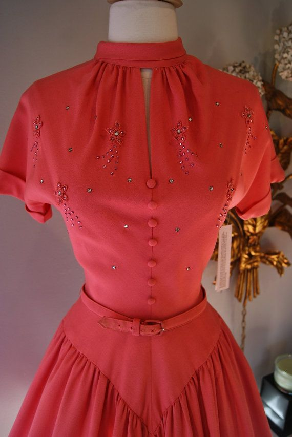 1950s Dress // Vintage 50s Coral Cotton Party by xtabayvintage