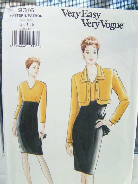 SALE Easy Vogue 9316 Women\'s Sewing Pattern 90\'s by WitsEndDesign ...