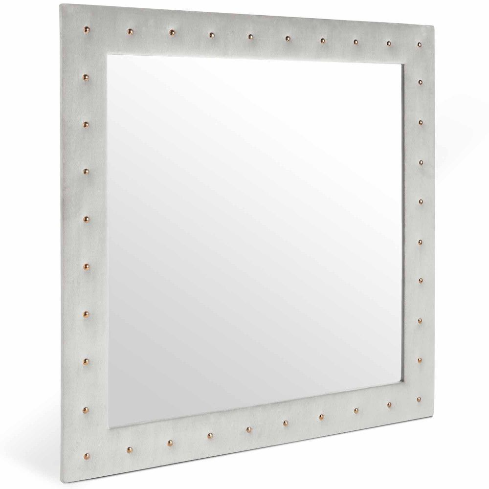 Details about Wall Mounted Mirror Grey Velvet Square Frame Bedroom Living Room Home Furniture is part of bedroom Mirror Square -