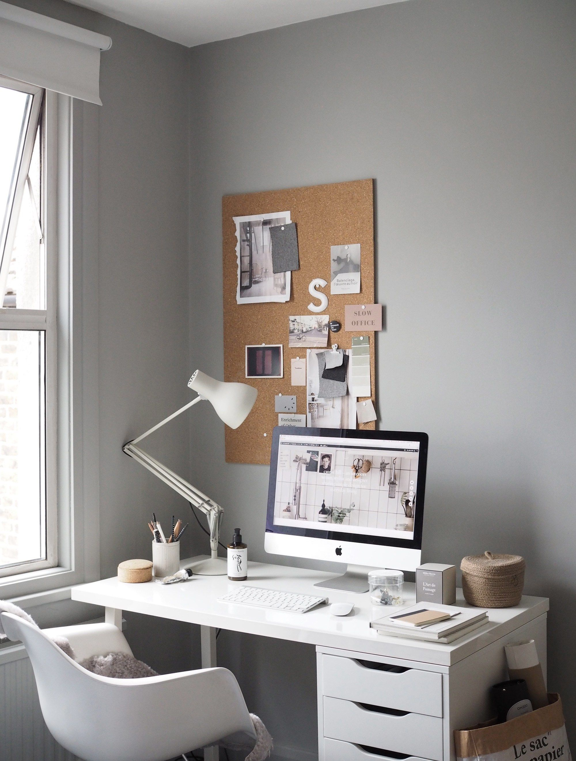 grey home office. A Cosy, Grey Home Office For Freelance Creative - My Makeover Reveal O