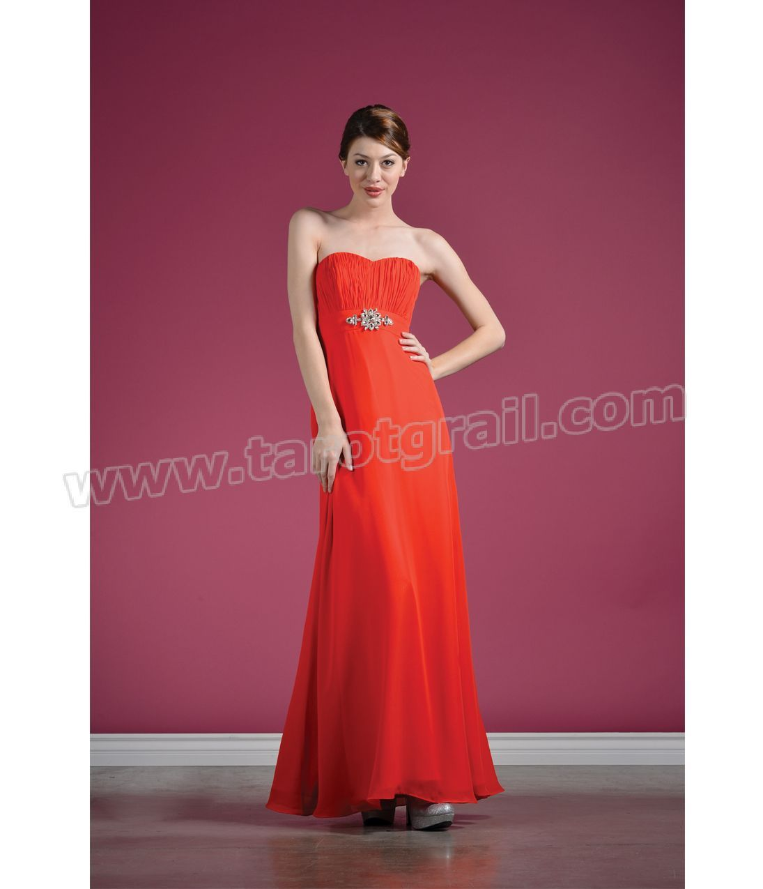 Orange sweetheart strapless chiffon prom dress strapless evening
