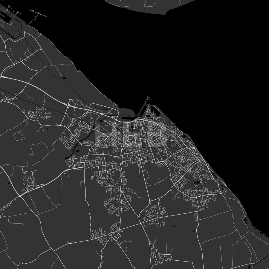 Grimsby Area Map in dark shaded version