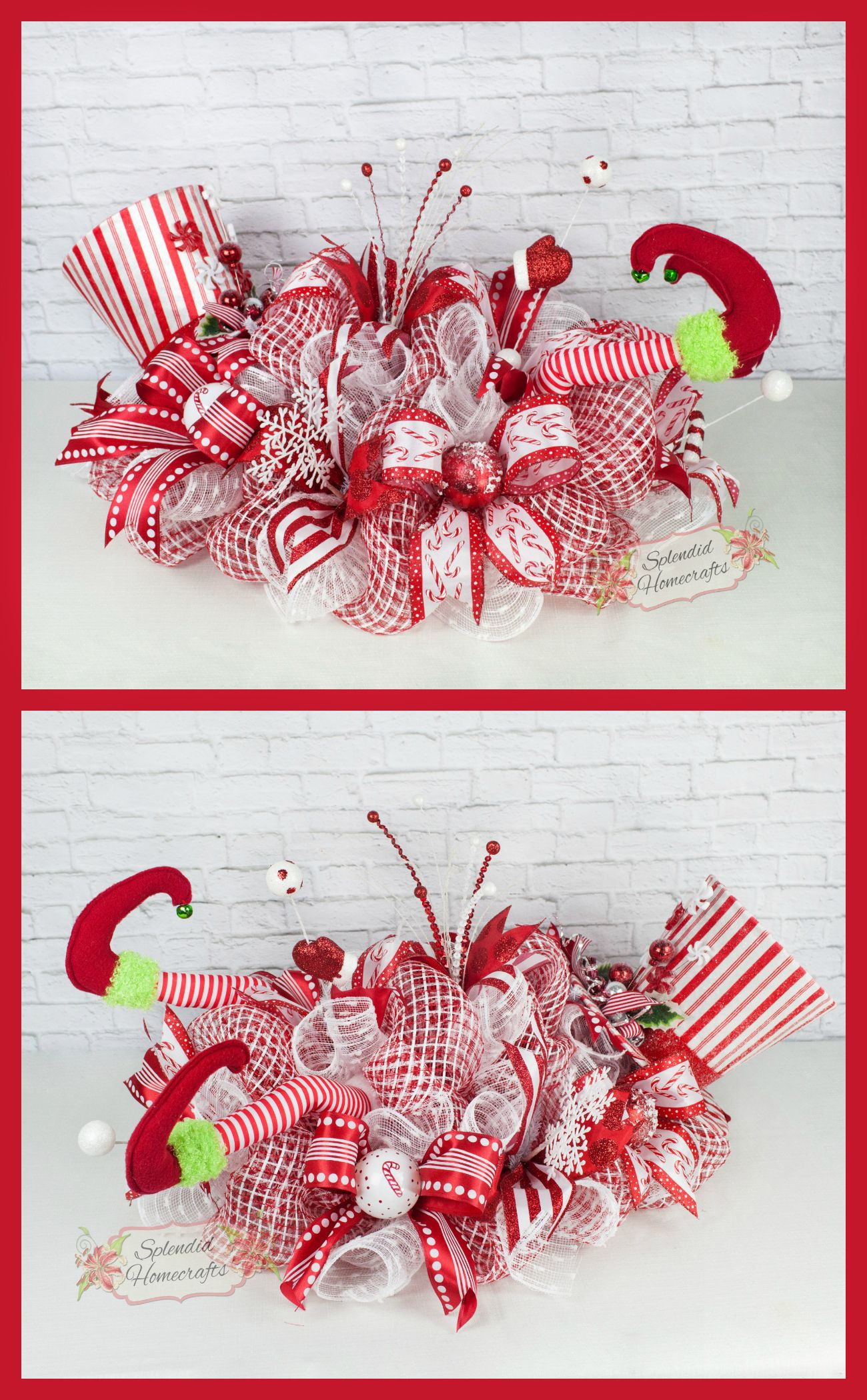 Peppermint elf centerpiece christmas