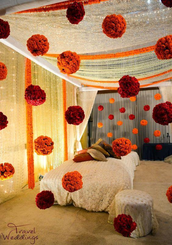 Stunning Diy Mehendi Decor Hanging Flower Balls Marigold And Rose Decor Fl Home Wedding Decorations Simple Wedding Decorations Indian Wedding Decorations
