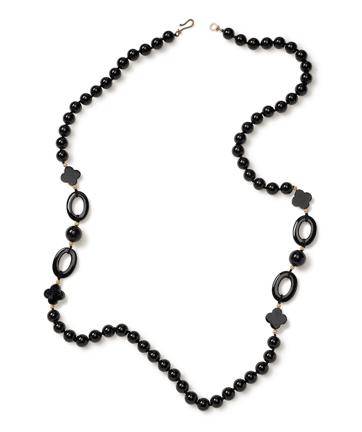 Pattern Onyx with Gold Spacer Bead Wrap-around Necklace