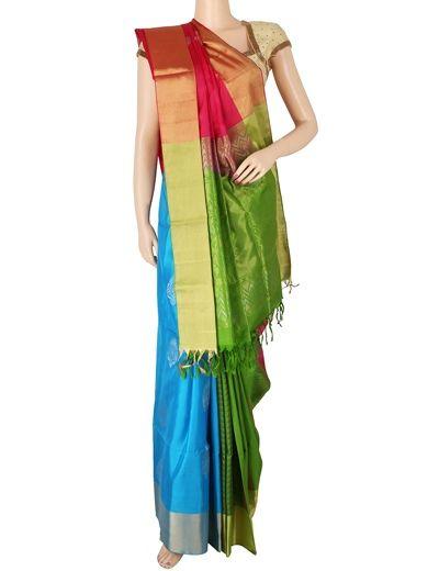 G3 exclusive wedding wear magenta blue half and half designer silk saree Product Code: G3-WSA5874 Price: ₹ 9,795.00