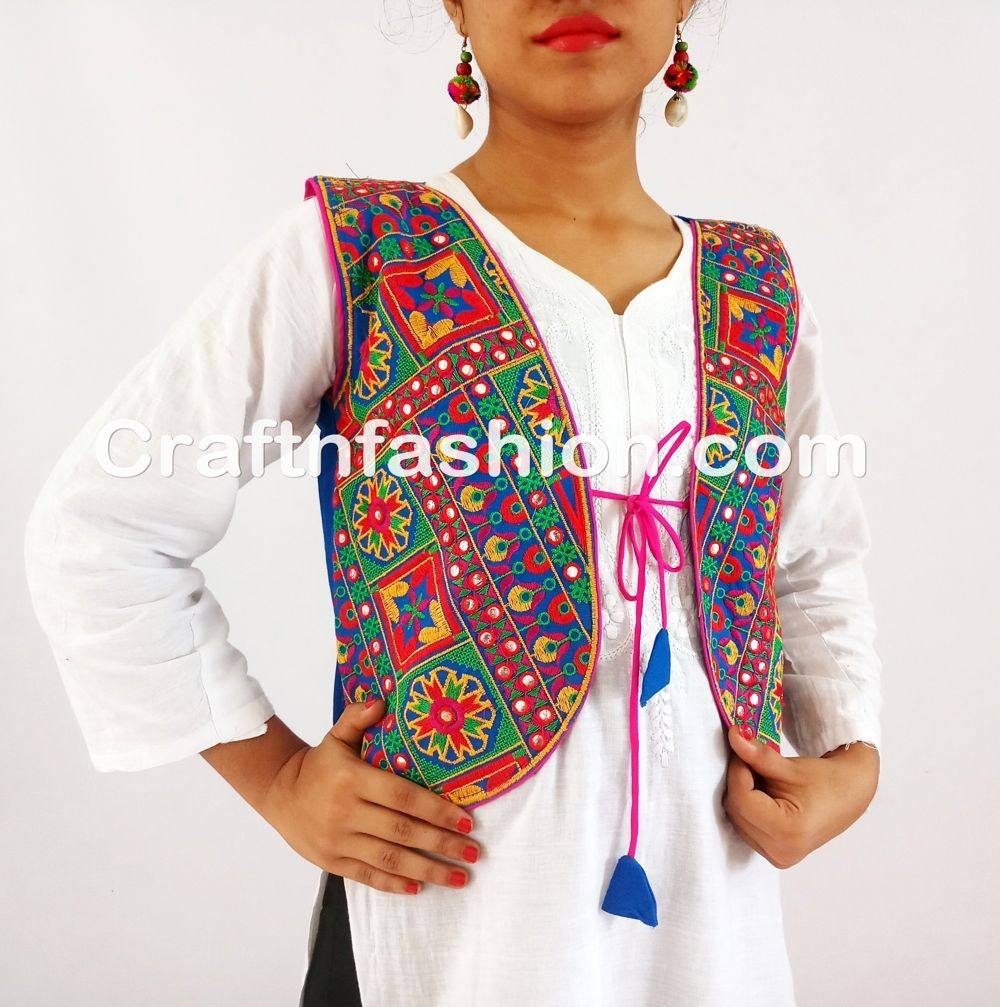 Banjara India Kutchi Short Choli Jacket- Indian Designer Embroidered Koti- Ladies  Embroidered Jackets koti