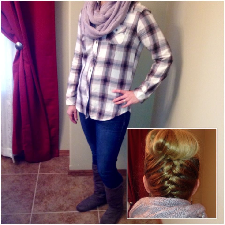 Plaid with lavender scarf.  Hair updo.