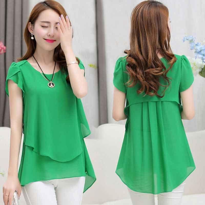 b377a17dbb5 Summer Plus size women chiffon blouses shirts o neck short sleeve double  irregular solid fashion casual ladies tops Blusas