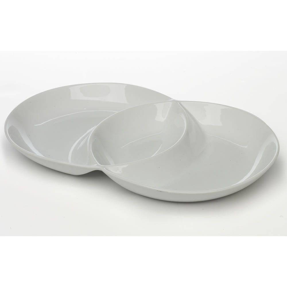 Wilko dip dish round ceramic 3 section white venn diagram