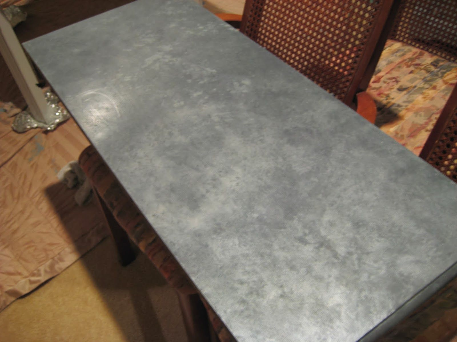 Faux Zinc Tabletop  Super Easy Tutorial From Salt Marsh Cottage.
