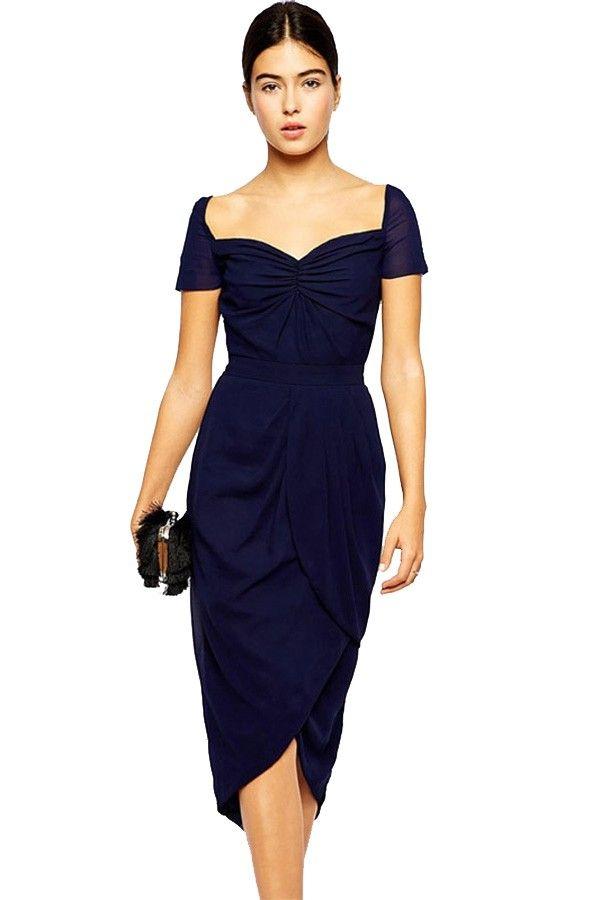 Dark Blue Sweetheart Neckline Tulip Hem Midi Dress. Loading  23c08108a