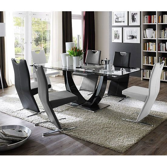 Tavolo Gloss Black Pedestal Dining And 8 Image Chairs