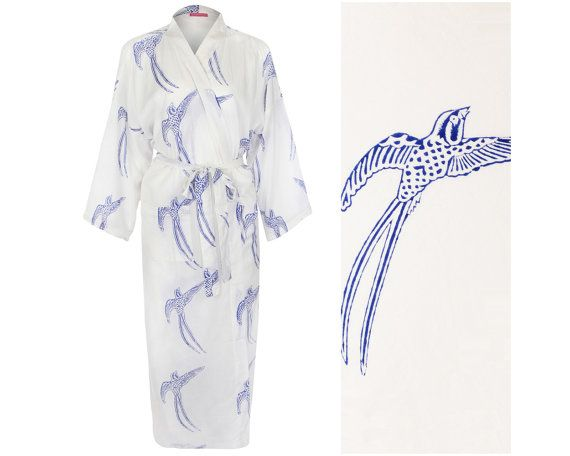 KIMONO Ladies Dressing Gown Robe. Long Tailed by SusannahCotton. Kimono  Robe Dressing Gowns - Susannah Cotton Hand Printed 100% Light Cotton Robes  One size 246f872a9