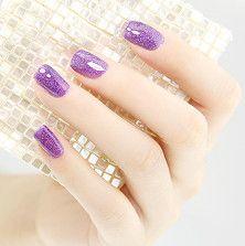 Purple Glitter Nail Art