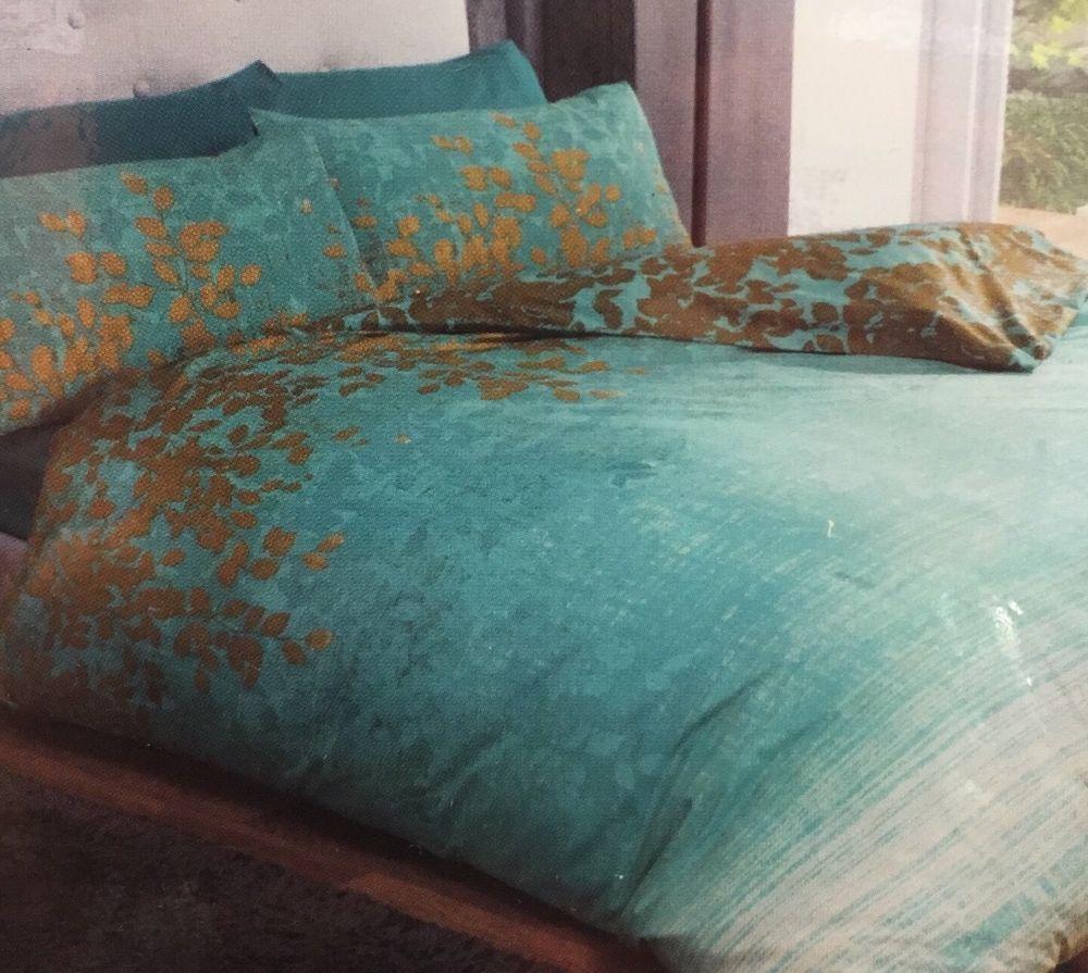 Double Duvet Set Reversible Ombre Teal Green Blue Gold Leaves