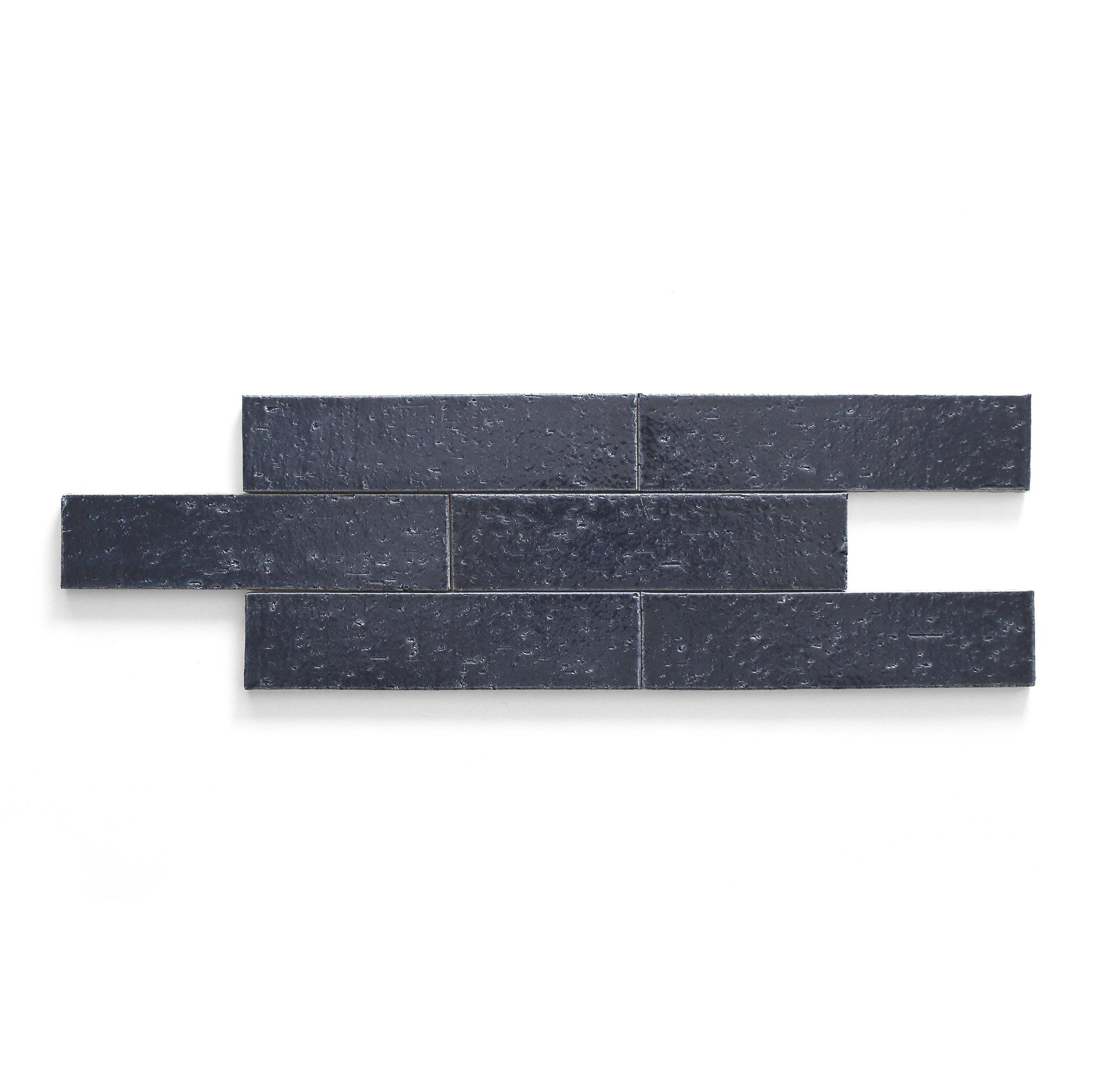 "Modern farmhouse brick gloss deep blue rectangle 2 1/2""x9"