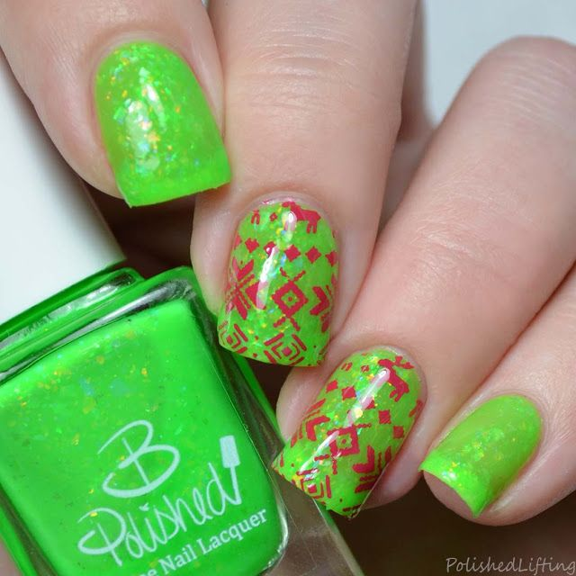 Ugly Sweater Nail Art B Polished Lime-light Sally Hansen Insta Dri ...