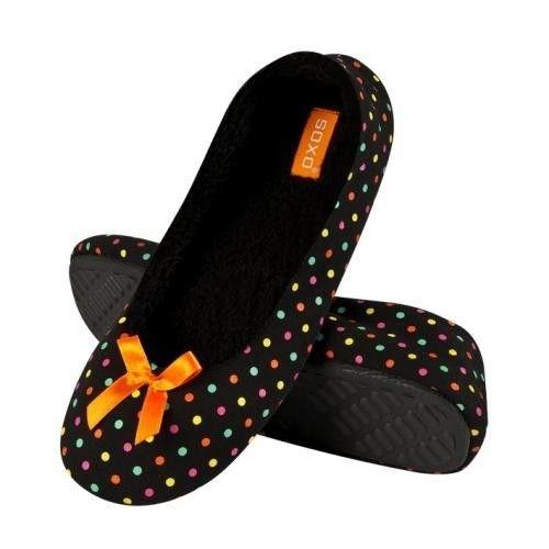 2fa243864c1b SOXO Women s ballerina slippers in colorful stripes (TPR sole ...