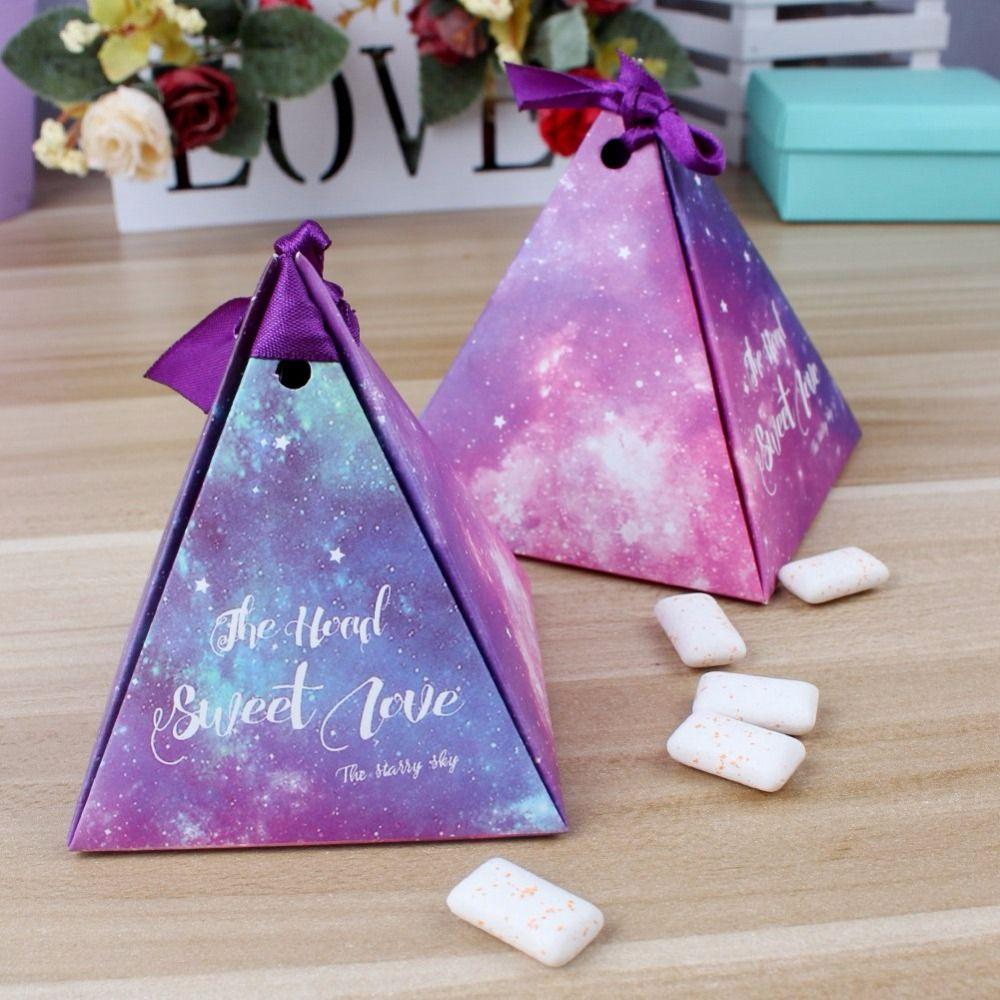 50pcs purple triangular gift box with starry sky galaxy