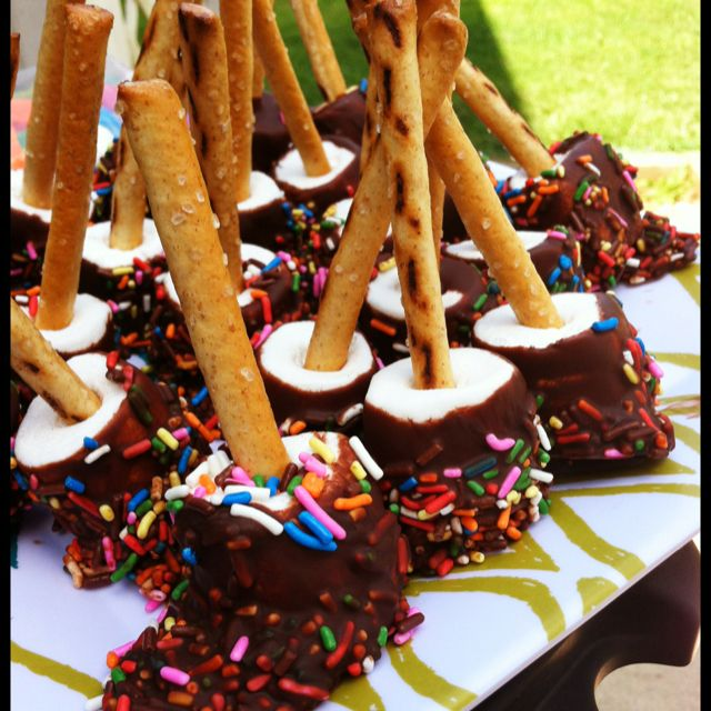 Birthday Party Marshmallow Pops! Made These For My