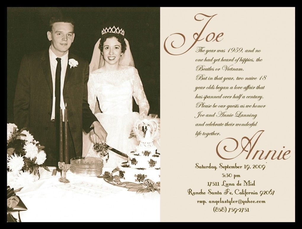 Vintage Wedding Anniversary Invitation Card With Ancient Photo So Interesting Alongside Beige As Background Black Font Color And Simple Words