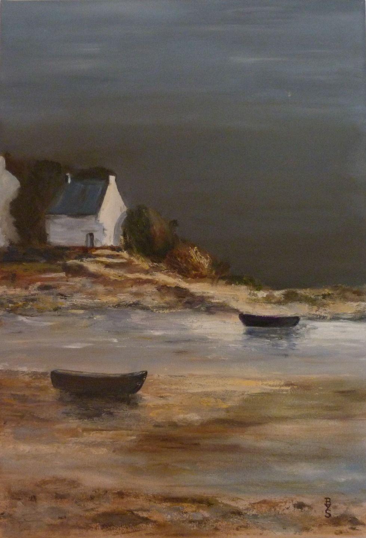 Peinture orage maison au bord de mer peintures par - Dessin bord de mer ...
