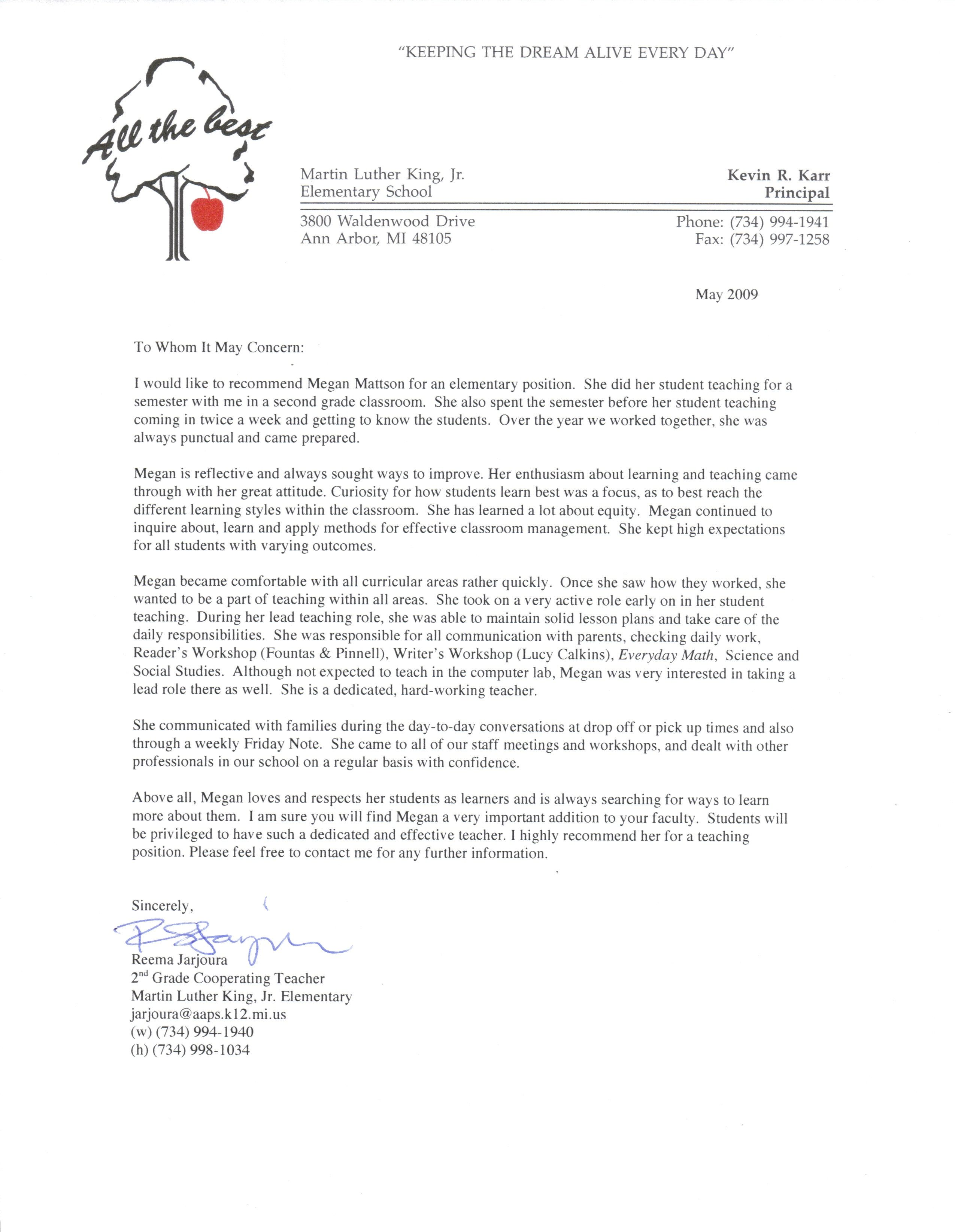 recommendation letter sample for teacher from student httpwwwresumecareer