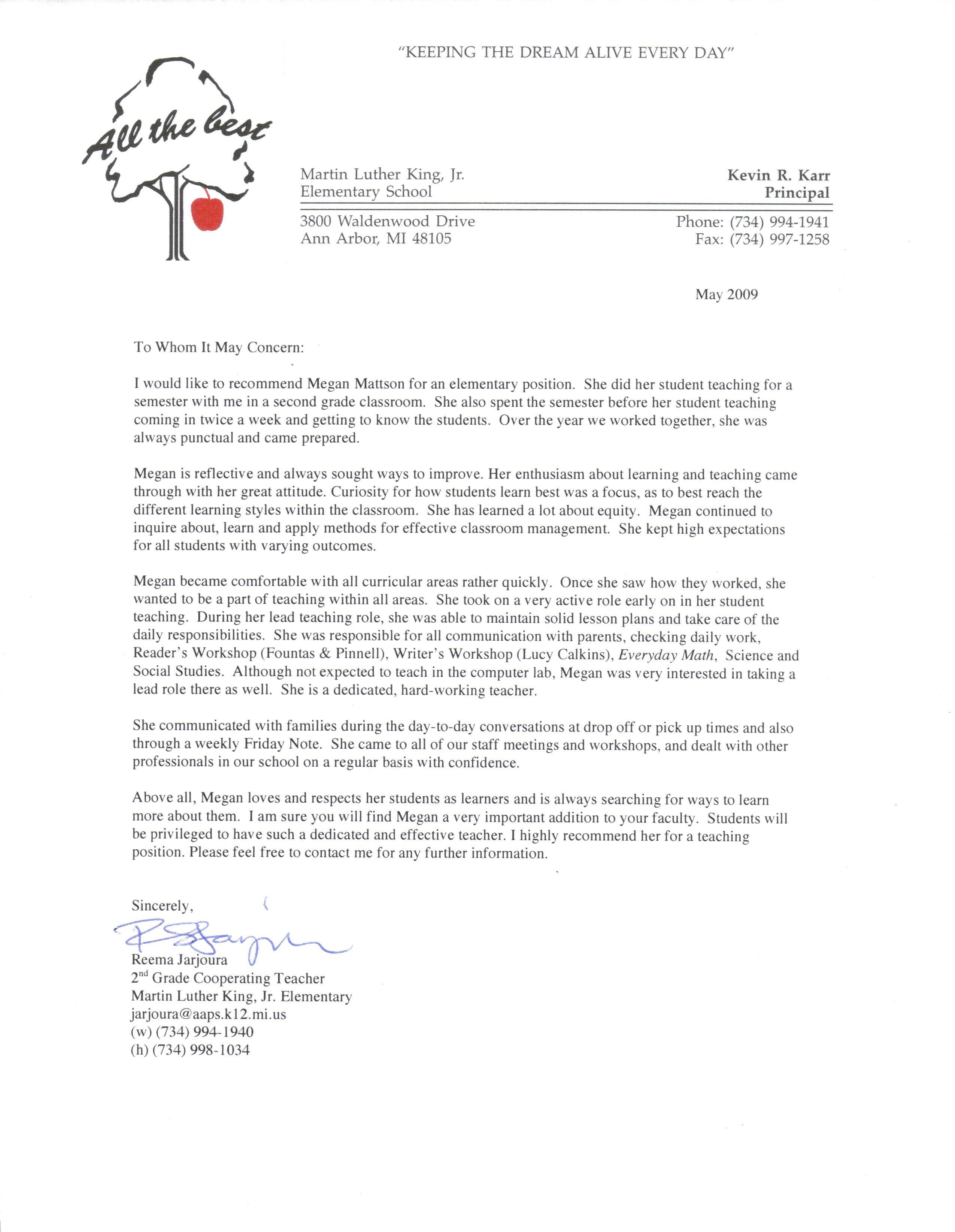 Letter Sample For Teacher From Student
