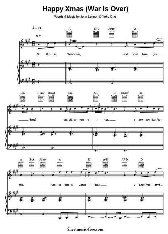 Happy Xmas War Is Over Sheet Music John Lennon Sheet Music Sheet Music Pdf Piano Sheet Music Pdf